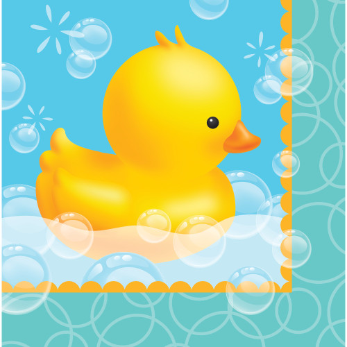 "Club Pack of 192 Yellow Bubble Bath Rubber Ducky Lunch Napkins 6.5"" - IMAGE 1"