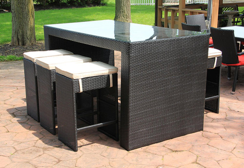 """7-Piece Black and White Wicker Outdoor Patio Furniture Bar Dining Set with Cushions - 78"""" - IMAGE 1"""