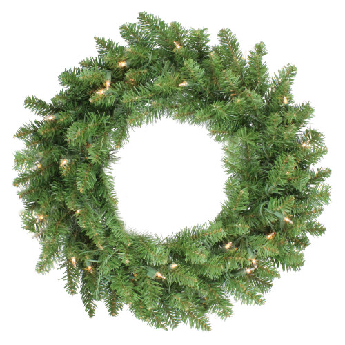 "24"" Pre-Lit Eastern Pine Artificial Christmas Wreath - Clear Lights - IMAGE 1"