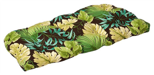 """44"""" Tropical Green Reversible Outdoor Patio Tufted Wicker Loveseat Cushion - IMAGE 1"""