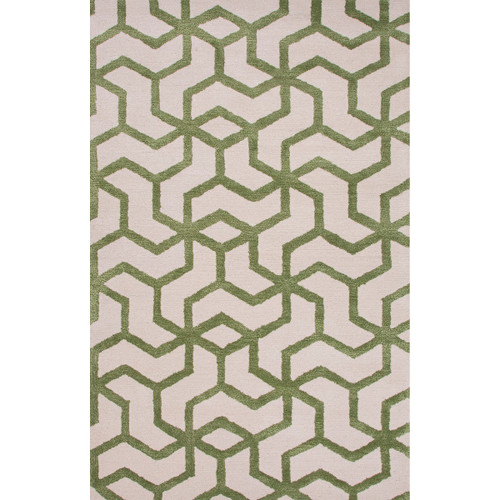 2' x 3' Forest Green and Ivory Addy Modern Hand Tufted Wool and Art Silk Area Throw Rug - IMAGE 1