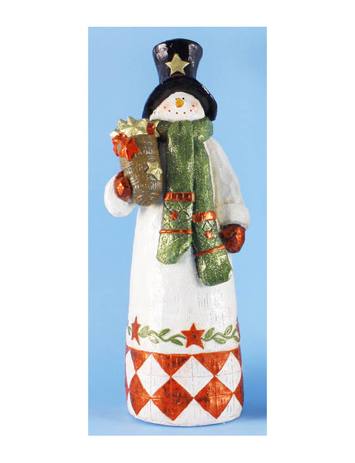 """18"""" White and Black Folk Art Snowman with Christmas Hat Tabletop Figurine - IMAGE 1"""