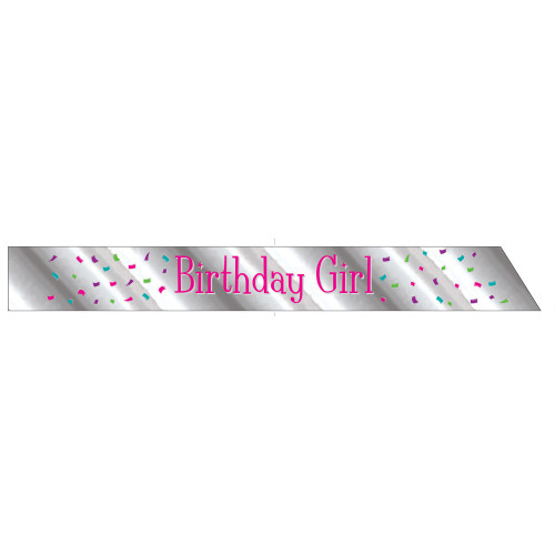 """Club Pack of 12 Silver and Hot Pink Birthday Girl Party Sashes 66"""" - IMAGE 1"""