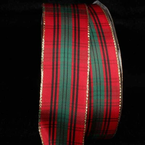 "Black and Red French Plaid Wired Craft Ribbon 1.5"" x 27 Yards - IMAGE 1"