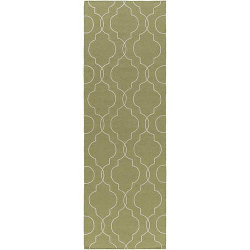 2.5' x 8' Quatrefoil Olive Green and White Hand Tufted Rectangular Wool Area Throw Rug Runner - IMAGE 1