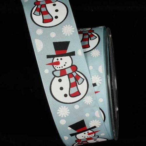 "Blue and White Wonderland Snowman Wired Craft Ribbon 1.5"" x 27 Yards - IMAGE 1"