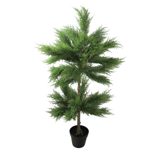 """44"""" Potted Artificial Cypress Double Ball Artificial 2 Tier Tree - Unlit - IMAGE 1"""
