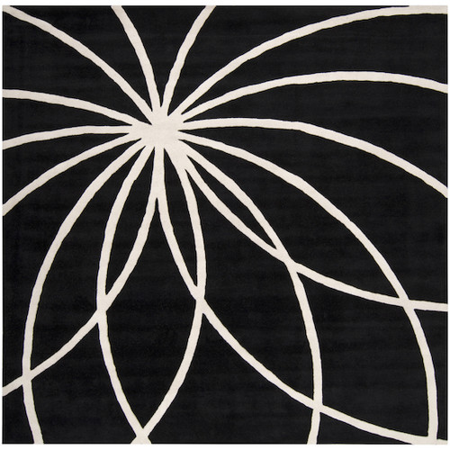 4' x 4' Contemporary Jet Black and White Square Wool Area Throw Rug - IMAGE 1