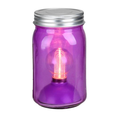"6.5"" Battery Operated LED Edison Bulb Vintage-Style Purple Glass Mason Jar Lantern - IMAGE 1"