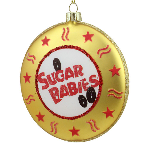 "4"" Gold and Red Tootsie Roll Sugar Babies Caramel Candies Disc Christmas Ornament - IMAGE 1"