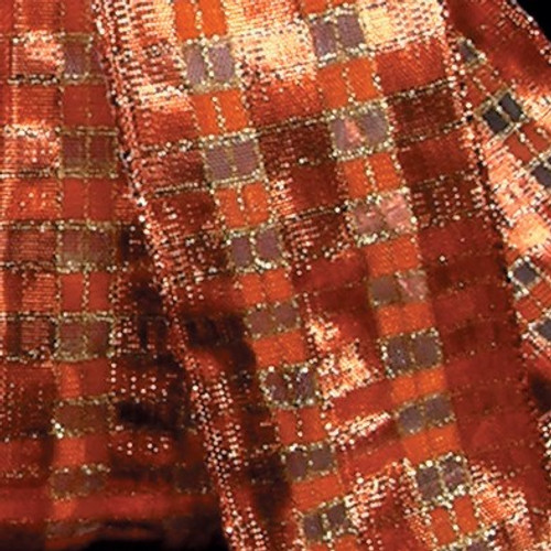"""Copper Brown and Gold Checkered Abby French Wired Edge Craft Ribbon 1.5"""" x 27 Yards - IMAGE 1"""