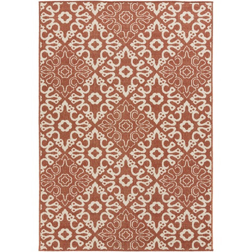 2.25' x 4.25' Orange and White Contemporary Machine Woven Rectangular Outdoor Area Throw Rug - IMAGE 1