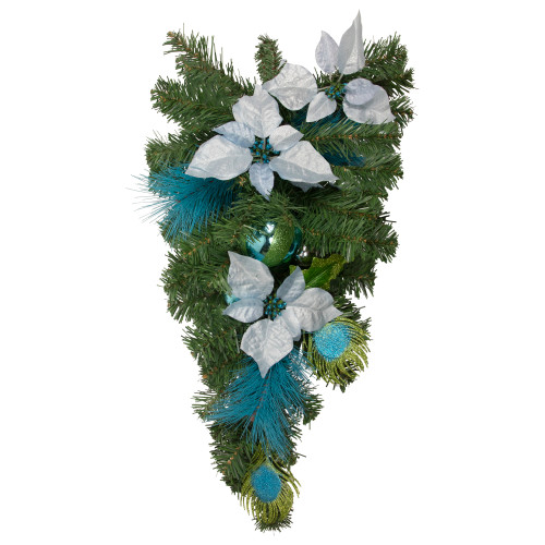 "24"" Blue and Silver Peacock and Poinsettia Unlit Artificial Christmas Teardrop Swag - IMAGE 1"