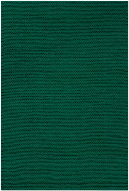 8' x 10' Solid Emerald Green Hand Woven New Zealand Wool Area Throw Rug - IMAGE 1