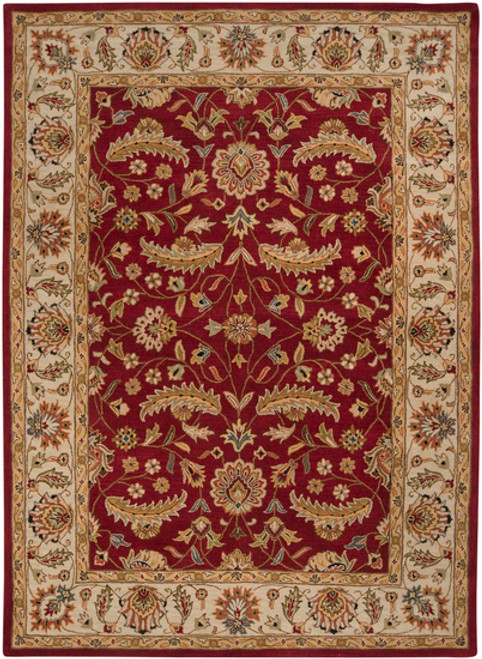 7.5' x 9.5' Maroon and Brown Contemporary Hand Tufted Floral Rectangular Wool Area Throw Rug - IMAGE 1