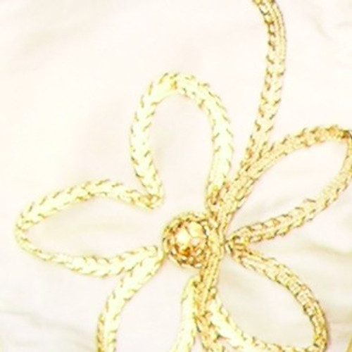 """Ivory and Gold Floral Print Wired Craft Ribbon 4"""" x 10 Yards - IMAGE 1"""