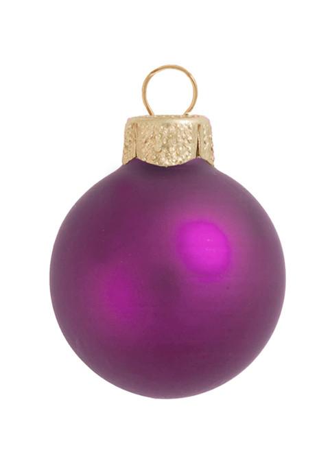 "12ct Purple Matte Glass Christmas Ball Ornaments 2.75"" (70mm) - IMAGE 1"