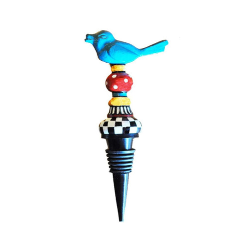 """Set of 2 Red and Blue Whimsical Bird Bottle Stoppers 6"""" - IMAGE 1"""