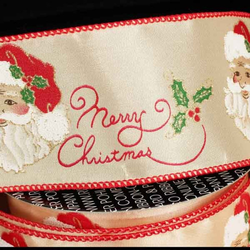 """Gold with Red Merry Christmas Santa Print Wired Craft Ribbon 2.5"""" x 20 Yards - IMAGE 1"""