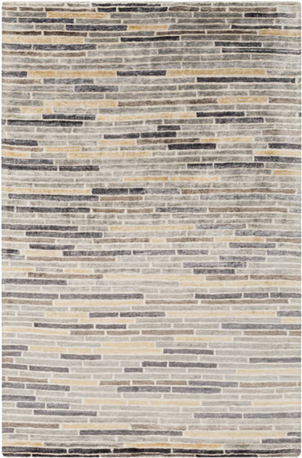 5' x 8' Beige and Gray Hand-Knotted Area Throw Rug - IMAGE 1