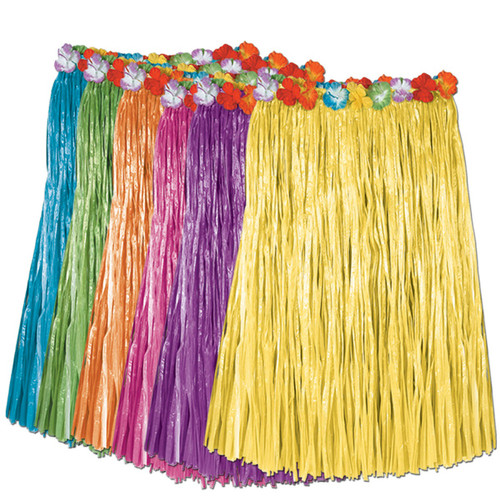 """Club Pack of 12 Tropical Purple and Blue Adult Women's Artificial Grass Hula Skirts 36"""" - IMAGE 1"""