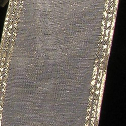"White and Gold Edge Craft Ribbon 2"" x 33 Yards - IMAGE 1"
