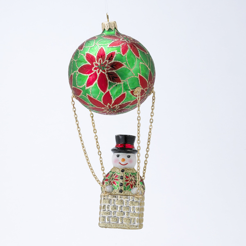 """8.25"""" Red and Green Frosty Skies Poinsettias Snowman Glass Christmas Ornament - IMAGE 1"""