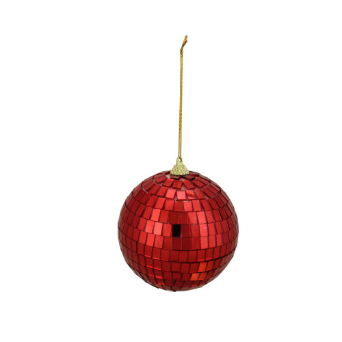"4ct Red Hot Mirrored Glass Disco Ball Christmas Ornaments 3.5"" - IMAGE 1"