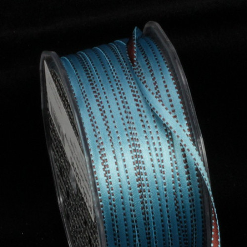 "Blue and Brown Double Sided Craft Ribbon with Stitch Edge 0.25"" x 220 Yards - IMAGE 1"
