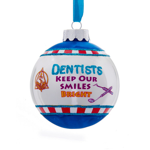 """White and Blue Glittered Dentists Keep Our Smiles Bright Christmas Ball Ornament 3"""" (75mm) - IMAGE 1"""