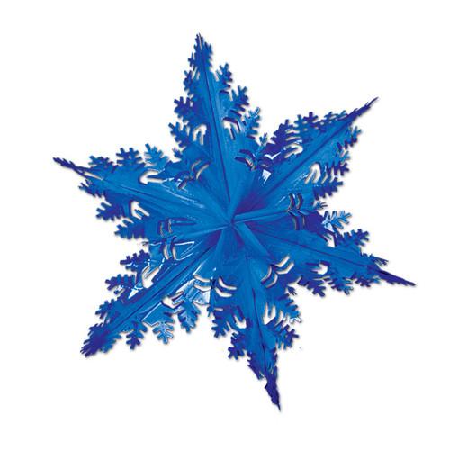 "Club Pack of 12 Metallic Blue Winter Snowflake Hanging Christmas Decorations 24"" - IMAGE 1"