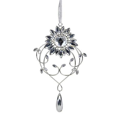 """7.75"""" Silver Flower Jeweled Drop Christmas Ornament - IMAGE 1"""