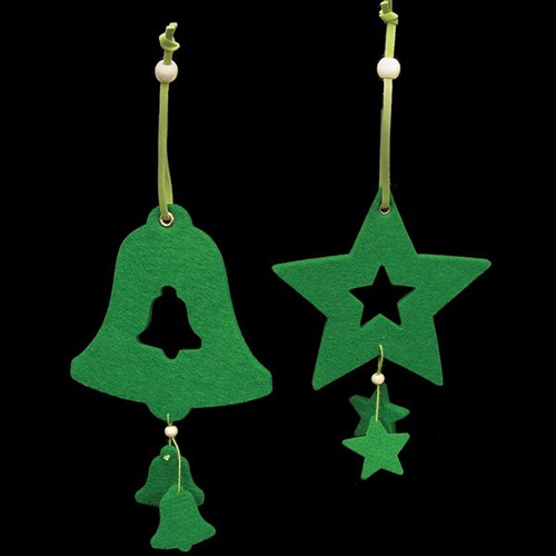 Club Pack of 18 Brilliant Green Color Bell and Star Felt Ornaments - IMAGE 1