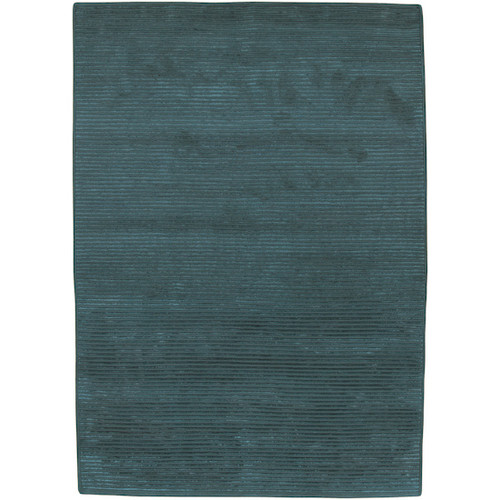 5' x 8' Solitary Emerald Green Hand Knotted Rectangular Area Throw Rug - IMAGE 1