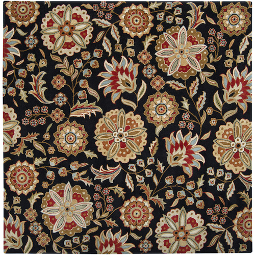4' x 4' Black and Red Hand-Tufted Square Wool Area Throw Rug - IMAGE 1