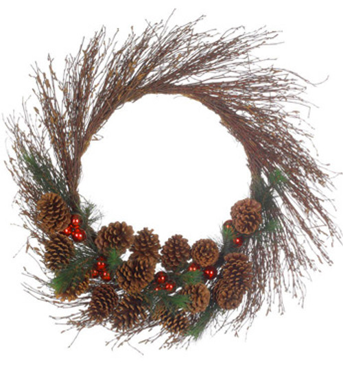 Pine Cone and Ball Ornament Artificial Twig Christmas Wreath - 30-Inch, Unlit - IMAGE 1