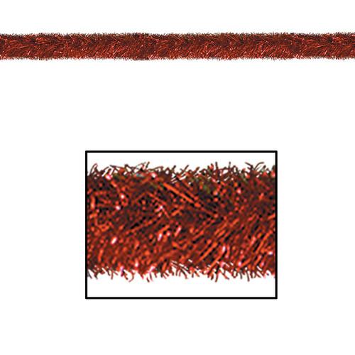 100' Festive Shiny Red Gleam 'N Tinsel Holiday Garland - Unlit - IMAGE 1