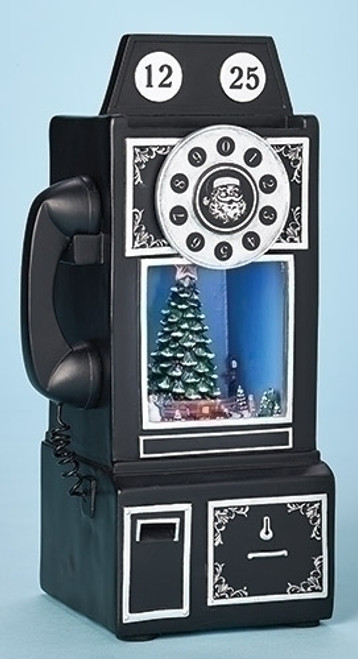 "9.75"" Black and Silver Musical Retro Telephone Christmas Decor with Led Lights - IMAGE 1"