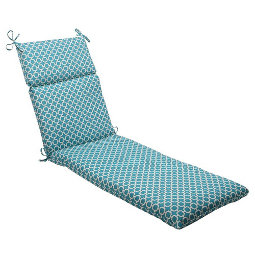"""72.5"""" Moroccan Mosaic Blue Outdoor Patio Furniture Chaise Lounge Cushion - IMAGE 1"""