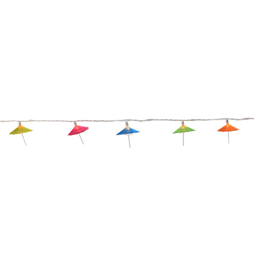 10-Count Vibrantly Colored Sun Umbrella Christmas Light, 6ft White Wire - IMAGE 1