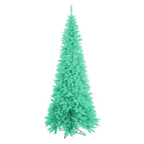 9' Pre-Lit Slim Seafoam Green Ashley Spruce Christmas Tree - Clear and Green Lights - IMAGE 1