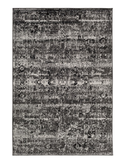 5.25' x 7.5' Contemporary Midnight Black and Gray Area Throw Rug - IMAGE 1