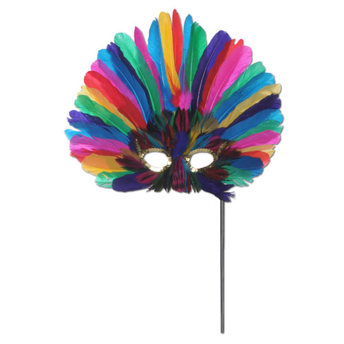 Club Pack of 12 Festive Multi-Colored Feathered Mardi Gras Masquerade Masks - IMAGE 1