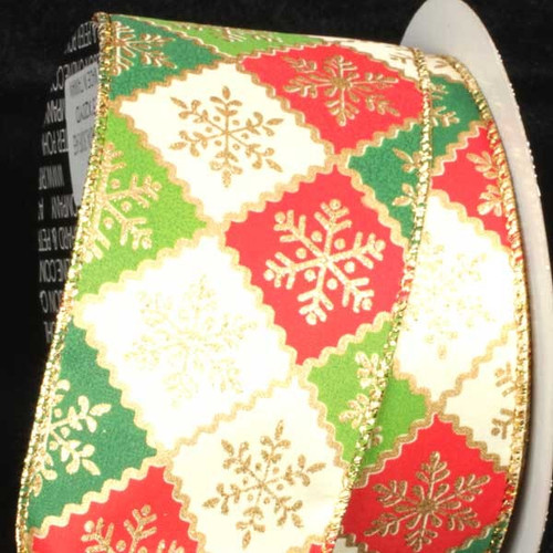 """Green and Red Snowflake Wired Craft Ribbon 2.5"""" x 40 Yards - IMAGE 1"""