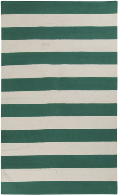 8' x 11' Pine Green and Ivory Striped Hand Woven Rectangular Area Throw Rug - IMAGE 1