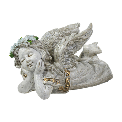 "6"" Gray Daydreaming Cherub Angel Outdoor Patio Garden Statue - IMAGE 1"
