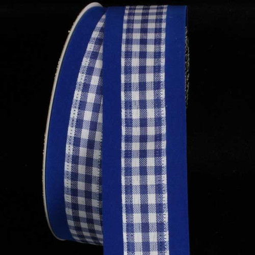 """Blue and White Wired Craft Ribbon 1.5"""" x 80 Yards - IMAGE 1"""