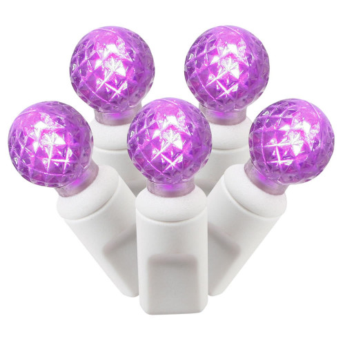 100-Count Purple LED G12 Berry Commercial Grade Christmas Lights Set, 33 ft White Wire - IMAGE 1