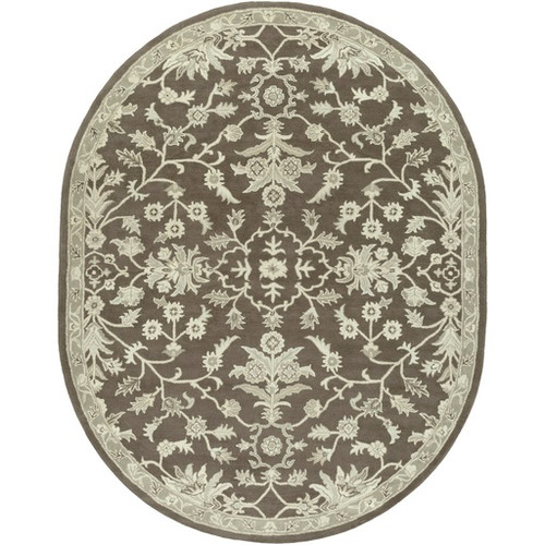 8' x 10' Oriental Gray and Brown Hand Tufted Oval Wool Area Throw Rug - IMAGE 1