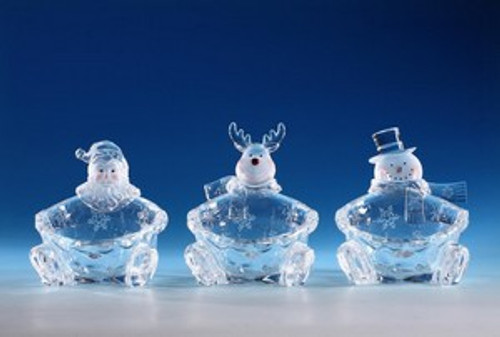 """Pack of 6 Icy Crystal Decorative Christmas Candy Bowls 6"""" - IMAGE 1"""